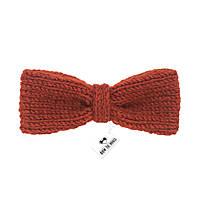 Bow Tie House™ Бабочка вязаная спицами терракотового цвета - ручная работа - узкая