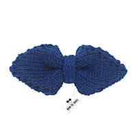 Bow Tie House™ Бабочка вязаная спицами темно-синяя - ручная работа - уголком