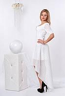 Вечернее разноуровневое платье белого цвета