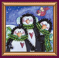 Набор для вышивки бисером мини-магнита Семейка пингвинов АММ-023
