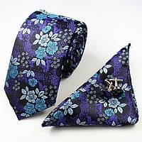 Галстук мужской ярко-фиолетовый изысканный в наборе с платком и запонками Bow Tie House™