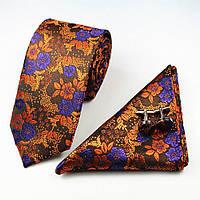 Галстук мужской насыщенно-оранжевый изысканный в наборе с платком и запонками Bow Tie House™