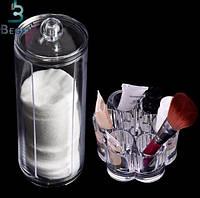 Набор настольный косметический Органайзер цветок+ контейнер тубус