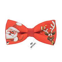 Bow Tie House™ Бабочка красная с дедом морозом + олень