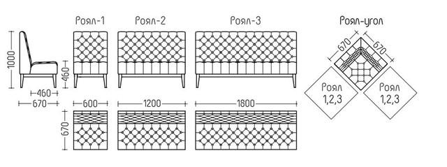 Серия мебели Роял (размеры)