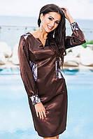 Коричневое  атласное платье с гипюром . Арт-9222/57