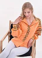 Стильная рубашка персикового цвета машинной вышивки