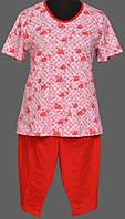 Футболка и бриджи розовая пижама для дома женская хлопковая Украина