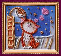 Набор-магнит для вышивки бисером Влюбленный кот АМА-136