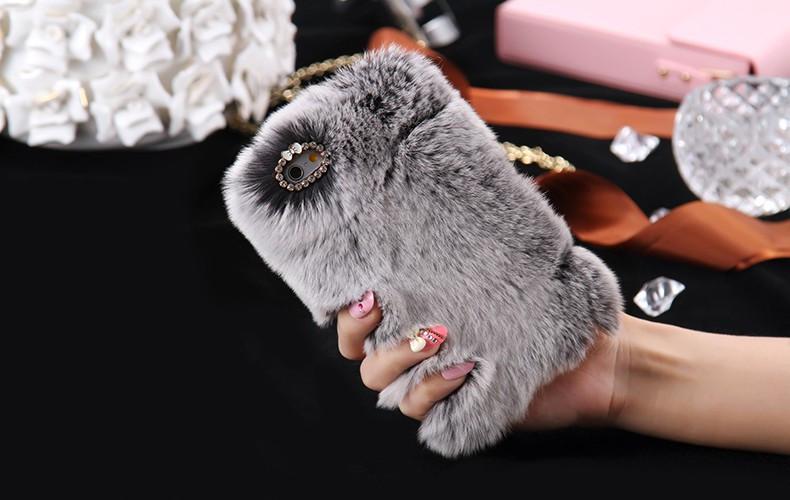 100% Genuine Rabbit Fur Whith Glitter Diamond Cover Case Grey для iPhone 6/6S