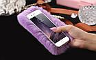 100% Genuine Rabbit Fur Whith Glitter Diamond Cover Case Pink для iPhone 6/6S, фото 3