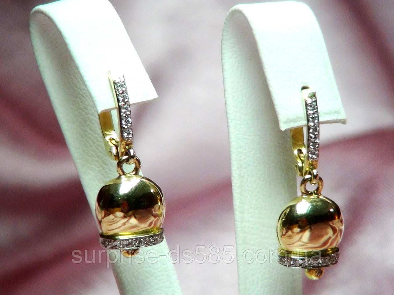 1d9921fa0eef Серьги золотые 585 пробы колокольчики инкрустированные фианитами - Интернет  магазин ювелирных изделий
