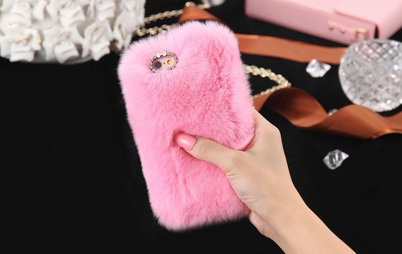 100% Genuine Rabbit Fur Whith Glitter Diamond Cover Case Pink для iPhone 6/6S