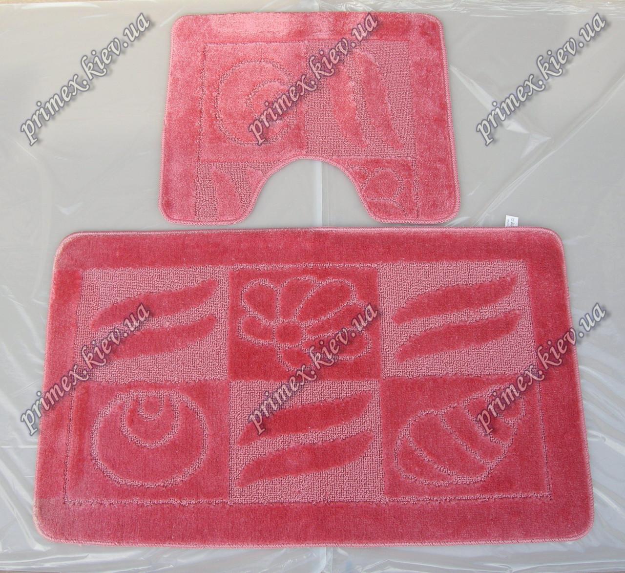 "Набор ковриков для ванной 60х50 см/60х100 см  ""Ракушки"", цвет розовый"