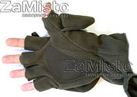 Перчатки-варежки зимние хаки (флис+ткань)