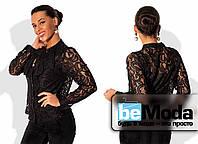 Деловая женская блуза из тончайшего гипюра с бантом на вороте с подкладом майкой из трикотажа черная
