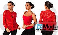 Деловая женская блуза из тончайшего гипюра с бантом на вороте с подкладом майкой из трикотажа красная