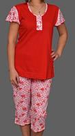 Пижама женская для дома футболка с бриджами хлопковая комплект домашний, красный Украина
