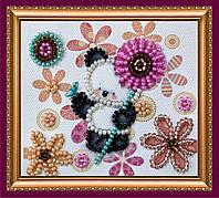 Набор-магнит для вышивки бисером Мишка и цветочки AMA-127