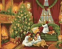 Картина по номерам без коробки Идейка Рождественская ночь (KHO2214) 40 х 50 см