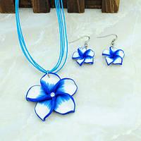 """Комплект """"Цветок"""" (серьги+подвеска) цвет: синий"""