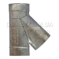 Тройник для дымохода ф100 45гр из нержавеющей стали