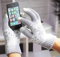 Перчатки сенсорные для телефонов и планшетов со снежинкой, фото 1
