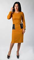 """Модное молодежное платье """"Офис"""" горчичного цвета."""