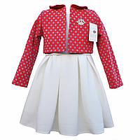 Модное детское платье с пышной юбкой и теплым пиджачком 98р