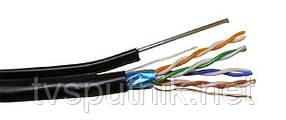 Омеднённая витая пара  FTP +M 0.50 CCA 4PR (уличная с тросиком)