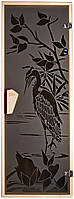 """Дверь для бани и сауны с рисунком """"Цапля"""", фото 1"""