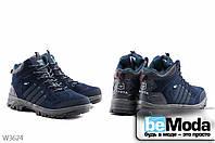 Молодежные мужские высокие кроссовки на искусственном меху Sayota Navy Blue/Sky Blue из качественного искусственного замша с оригинальными вставками
