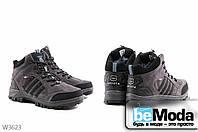 Молодежные мужские высокие кроссовки на искусственном меху Sayota DK.Grey/Sky Blue из качественного искусственного замша с оригинальными вставками