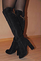 Зимние сапоги ботфорты из замши на высоком каблуке