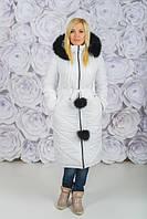 Зимнее, красивое, модное пальто с капюшоном, мех натуральный цвет белый р-42,44,46,48-50,52-54