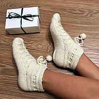 """Шикарные теплые шерстяные носочки на зиму """"Снежка"""" ручной работы, в подарочной упаковке."""