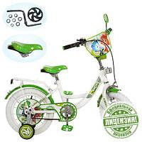 Велосипед детский 12д. FX 0034 W, ФК, белые колеса,зелено-белый