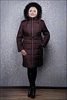 Пальто женское зимнее из плащевки в интернет магазине ozze К 103 евро бордовый