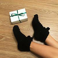 """Шикарные теплые шерстяные носочки на зиму """"Снежка блэк"""" ручной работы, в подарочной упаковке."""