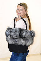 Большая замшевая черная сумка с мехом чернобурки