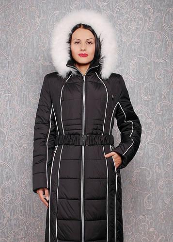 Женский пуховик большого размера К 103 евро черный с черным мехом