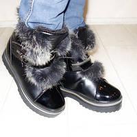 Ботинки женские зимние черные кролик