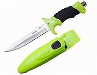 Нож для дайвинга Касатка, в комплекте с чехлом и резиновыми ремешками для крепления на тело