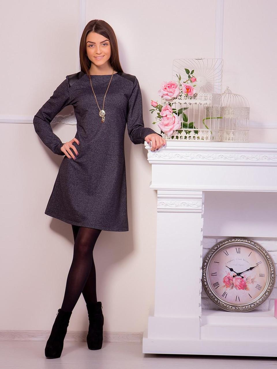 Модне сіре плаття з трикотажу з вставками з шкірозамінника