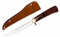 Нож для рыбалки разделочный Щука, с кожаным чехлом в комплекте