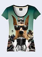 Футболка 3D Кот і пес на мотоциклі, фото 1