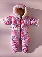 Зимний комбинезон для новорожденного на овчине, Мишка, розовый