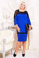 Платье женское больших размеров Зинаида электрик, размер 52, 54, 56, 58, 60, 62