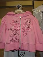Спортивная кофта спортивная с капюшоном, на молнии, с надписями, с утятами, девочка, ярко-розовый 72011438WB M