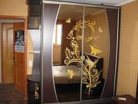 Шкаф-купе с рисунком и гнутыми перемычками